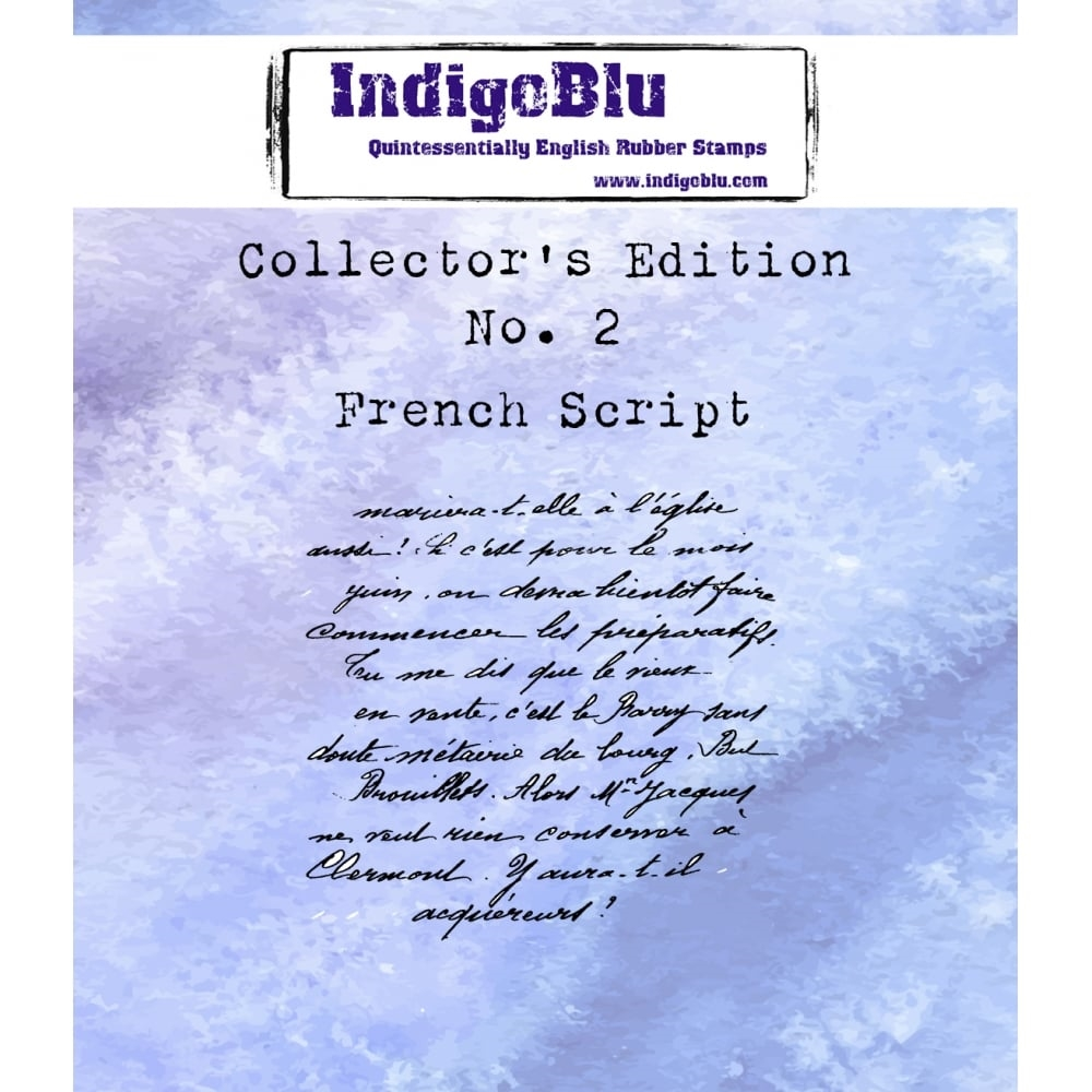 IndigoBlu Cling Stamp FRENCH SCRIPT Collectors Edition No. 2 Rubber IND0330 zoom image