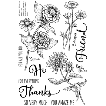 Power Poppy VIBRANT THANKS Abundance Clear Stamp Set PPJUL1704