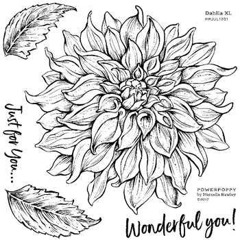 Power Poppy DAHLIA XL Abundance Clear Stamp Set PPJUL1701