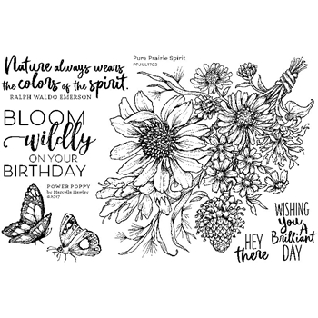 Power Poppy PURE PRAIRIE SPIRIT Abundance Clear Stamp Set PPJUL1702