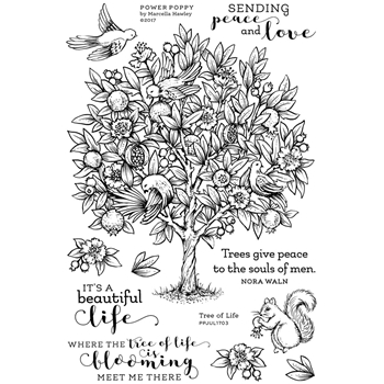 Power Poppy TREE OF LIFE Abundance Clear Stamp Set PPJUL1703