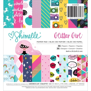 American Crafts Shimelle GLITTER GIRL 6x6 Inch Paper Pad 343658