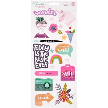 American Crafts Shimelle ACCENT AND PHRASE Glitter Girl Stickers 343661