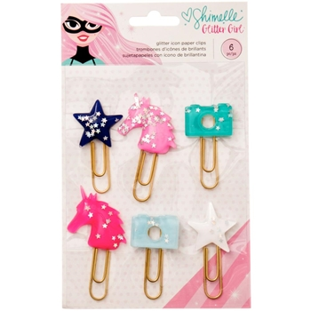 American Crafts Shimelle GLITTER ICON PAPER CLIPS Glitter Girl 343671