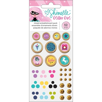American Crafts Shimelle EMBELLISHMENT PACK Glitter Girl 343664