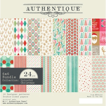 Authentique 6 x 6 COLORFUL CHRISTMAS Paper Pad COL010