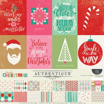 Authentique COLORFUL CHRISTMAS 12 x 12 Collection Kit COL011