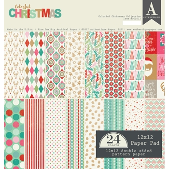 Authentique COLORFUL CHRISTMAS 12 x 12 Paper Pad COL012