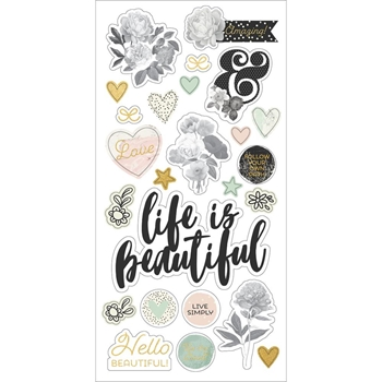 Simple Stories BEAUTIFUL 6 x 12 Chipboard Stickers 9215