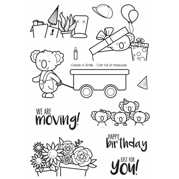 Create A Smile CART FULL OF TREASURES Clear Stamps CLCS53*