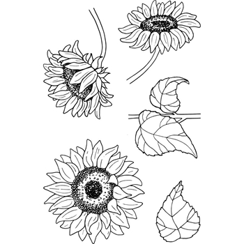 Jane's Doodles SUNFLOWERS Clear Stamp Set 743177