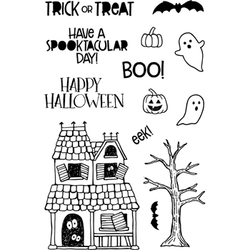Jane's Doodles HAUNTED HOUSE Clear Stamp Set 743184