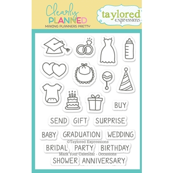 Taylored Expressions Clearly Planned MARK YOUR CALENDAR OCCASIONS Clear Stamp Set TECP39