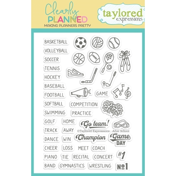 Taylored Expressions Clearly Planned AFTER SCHOOL Clear Stamp Set TECP41