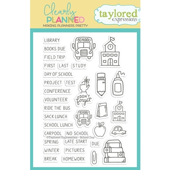 Taylored Expressions Clearly Planned SCHOOL DAY Clear Stamp Set TECP43