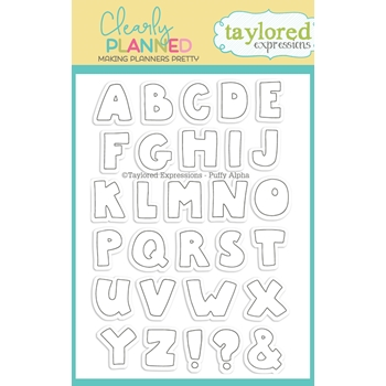 Taylored Expressions Clearly Planned PUFFY ALPHA Clear Stamp Set TECP44