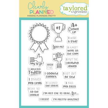 Taylored Expressions Clearly Planned A + GROWN UP Clear Stamp Set TECP45