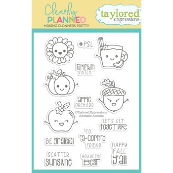 Taylored Expressions Clearly Planned ADORABLE AUTUMN Clear Stamp Set TECP42