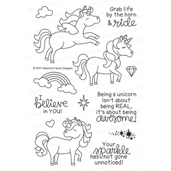 Newton's Nook Designs BELIEVE IN UNICORNS Clear Stamp Set NN1708S03