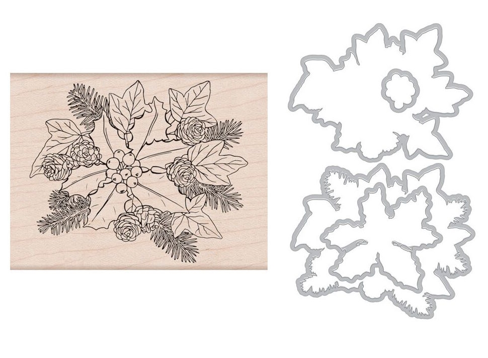 Hero Arts THE HOLLY AND IVY Rubber Stamp and Die Combo SB178 zoom image