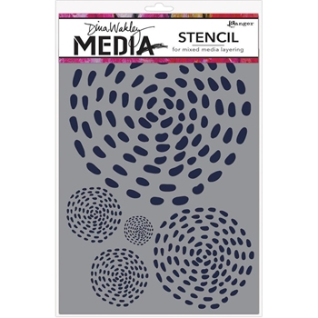 Dina Wakley SWIRLING DASHES Media Stencil MDS58304