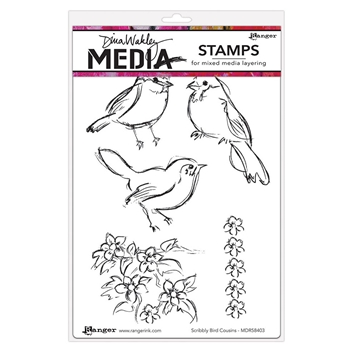 Dina Wakley SCRIBBLY BIRDS COUSINS Media Cling Rubber Stamp MDR58403