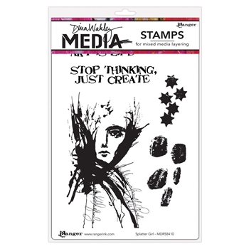 Dina Wakley SPLATTER GIRL Media Cling Rubber Stamp MDR58410*