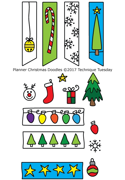 Technique Tuesday PLANNER CHRISTMAS DOODLES Clear Stamps 02555* zoom image
