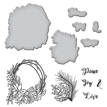 SDS-093 Spellbinders WREATH Cling Stamp and Die Set
