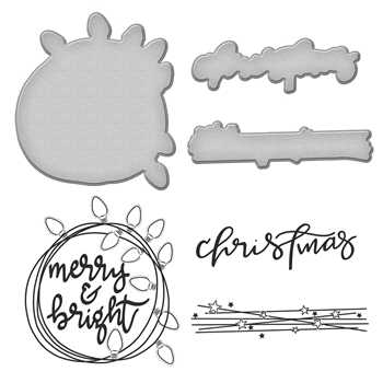 SDS-092 Spellbinders Stephanie Low CHRISTMAS LIGHTS Cling Stamp and Die Set