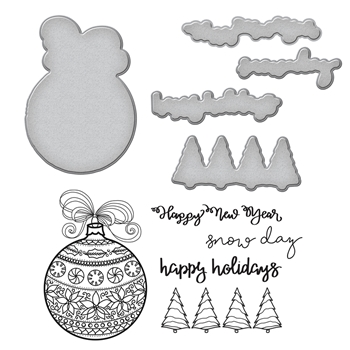SDS-090 Spellbinders Stephanie Low ORNAMENT Cling Stamp and Die Set