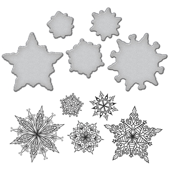 SDS-089 Spellbinders Stephanie Low SNOWFLAKES Cling Stamp and Die Set