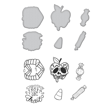 SDS-069 Spellbinders Stephanie Low TRICK OR TREAT Cling Stamp and Die Set