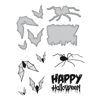 SDS-067 Spellbinders Stephanie Low HAPPY HALLOWEEN Cling Stamp and Die Set