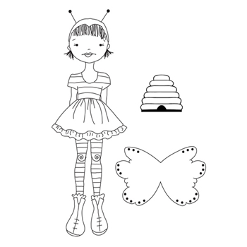 Prima Marketing BEE GIRL Mixed Media Doll Cling Stamps 912154