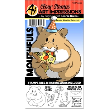 Art Impressions HAMSTER Mouthfuls Clear Stamps and Die Set 4948