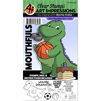 Art Impressions DINO Mouthfuls Clear Stamps and Die Set 4950