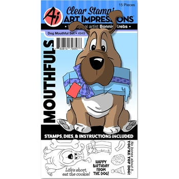 Art Impressions DOG Mouthfuls Clear Stamps and Die Set 4949