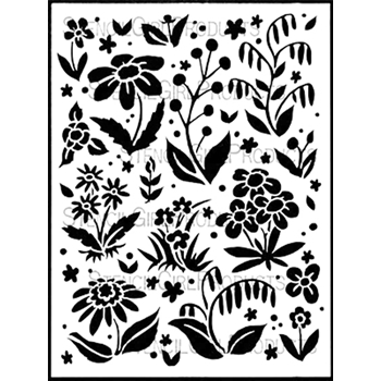 StencilGirl SCATTERED FLOWERS BACKGROUND 9x12 Stencil L562