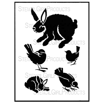 StencilGirl BIRDS AND BUNNIES 9x12 Stencil L561