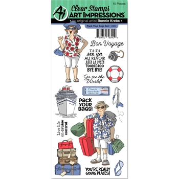Art Impressions PACK YOUR BAGS Clear Stamps 4932