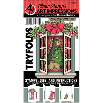 Art Impressions WINTER WINDOW Mini Tryfolds Clear Stamps and Dies 4929