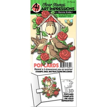 Art Impressions FLORAL BIRDHOUSE POPCARDS Clear Stamps and Dies 4946