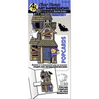 Art Impressions HAUNTED MANSION POPCARDS Clear Stamps and Dies 4944