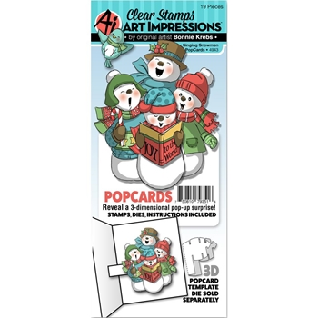 Art Impressions SINGING SNOWMEN POPCARDS Clear Stamps and Dies 4943