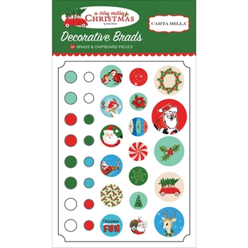 Carta Bella A VERY MERRY CHRISTMAS Decorative Brads CBVMC72020