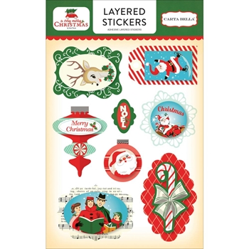 Carta Bella A VERY MERRY CHRISTMAS Layered Stickers CBVMC72025