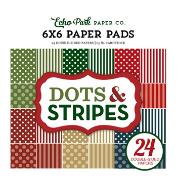 Echo Park CHRISTMAS DOTS AND STRIPES 6 x 6 Paper Pad DS170142