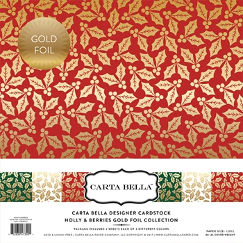 Carta Bella HOLLY & BERRIES GOLD FOIL 12 x 12 Collection Kit CBFHB004