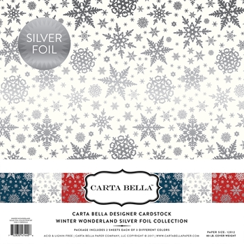 Carta Bella WINTER WONDERLAND SILVER FOIL 12 x 12 Collection Kit CBFWW004